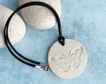 Ceramic butterfly necklace - big simple butterfly pendant necklace