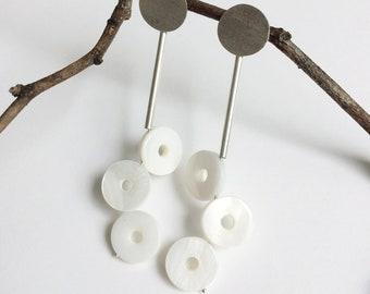 Modern dangle circle bar earrings - geometric statement silver and gemstone earrings