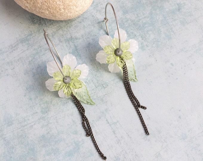 Statement flower hoop earrings - acrylic boho flower earrings