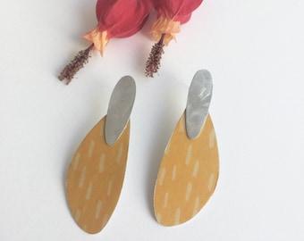 Statement yellow paper earrings - lightweight big stud earrings - modern abstract earrings