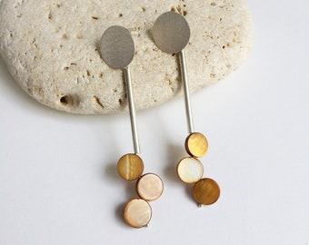 Modern statement silver gemstone earrings - Long dangle circle earrings - geometric earrings - contemporary jewelry - gift for her