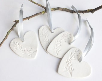 Porcelain heart Christmas tree ornament - modern Christmas decoration