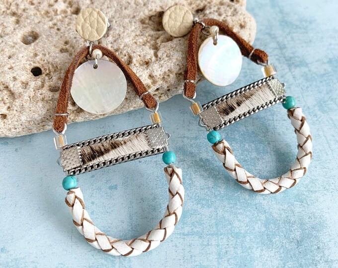 Boho half moon leather earrings - statement tribal earrings