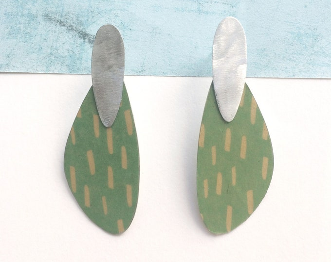 Statement green paper earrings - lightweight big stud earrings - modern abstract earrings