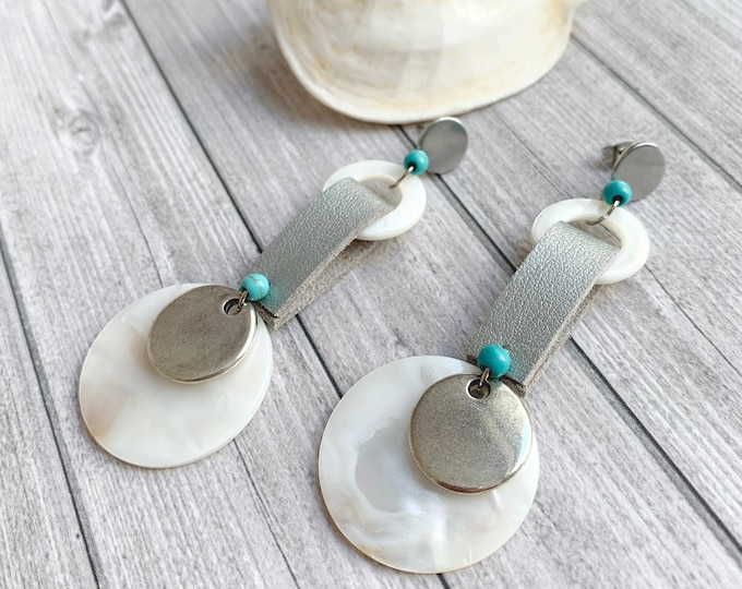 Statement leather and shell earrings - big long circle earrings
