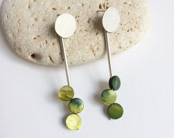 Long statement circle earrings - mother of pearl geometric earrings
