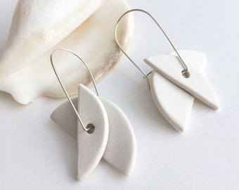 Statement geometric porcelain earrings - ceramic half moon earrings - unique minimalist earrings
