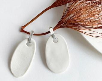Statement oval dangle porcelain earrings - big asymmetrical ceramic earrings