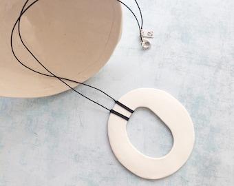 Minimalist white porcelain pendant - ceramic circle necklace - modern porcelain necklace