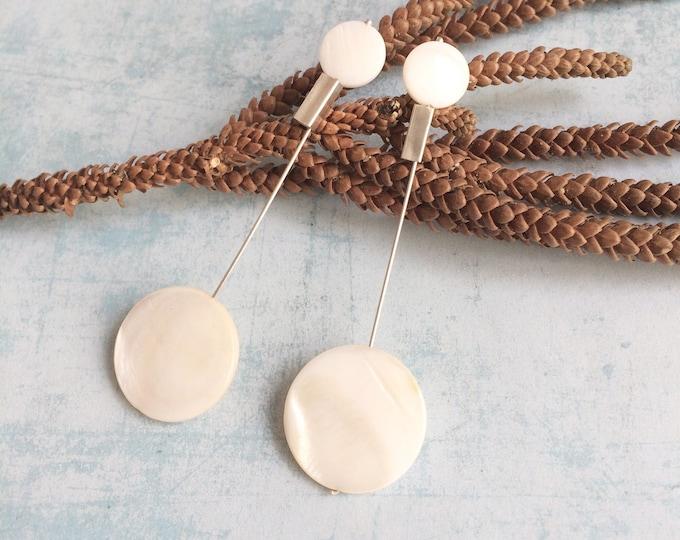 Long bar circle earrings - statement geometric silver earrings - minimalist modern pearl jewelry - gift for her