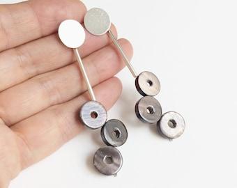 Long circle mother of pearl earrings - statement geometric earrings