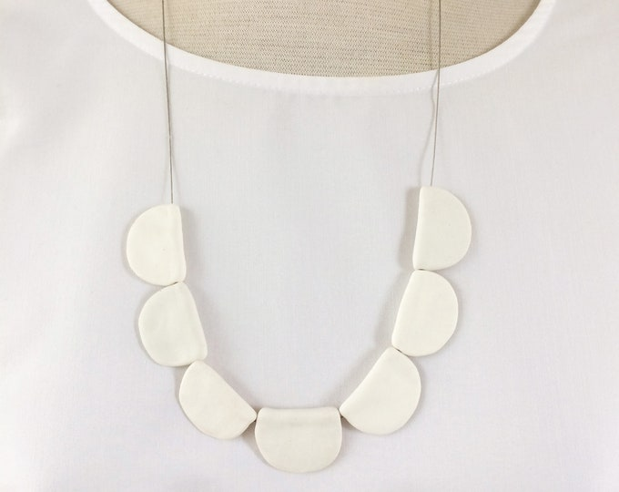Statement porcelain half moon necklace - modern geometric ceramic necklace