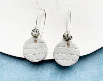 Modern porcelain circle earrings - geometric ceramic earrings