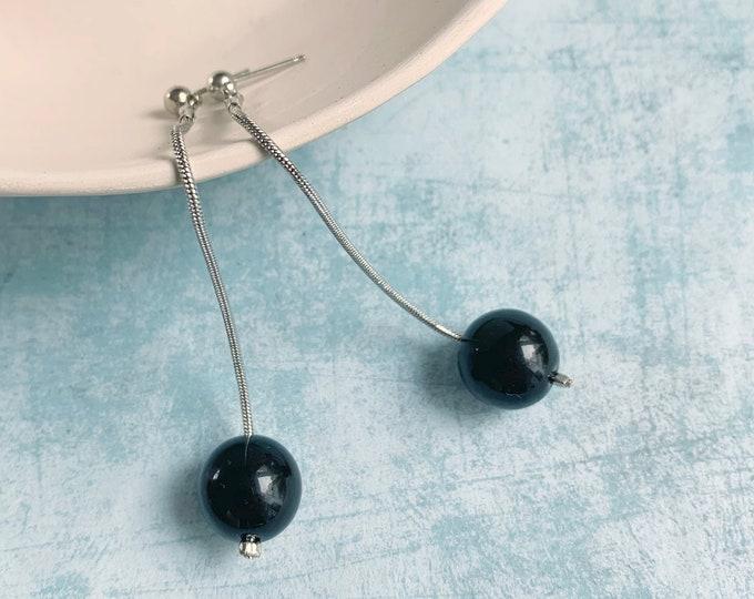 Long minimalist ball earrings - drop black ball earrings
