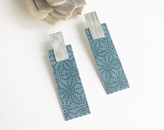 Geometric large paper earrings - statement rectangle bar earrings - lightweight big stud earrings