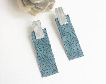 Statement rectangle bar earrings - geometric large paper earrings - lightweight big stud earrings