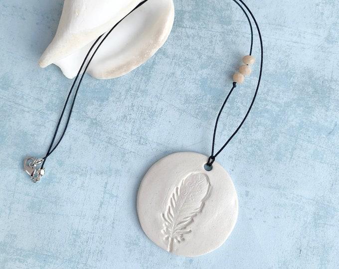 Boho feather ceramic necklace - simple feather pendant