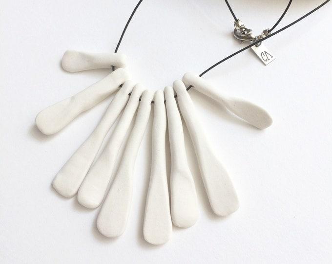 Statement tribal ceramic necklace - white porcelain fringe necklace