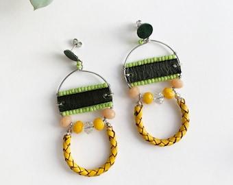 Boho beaded circle earrings - statement tribal earrings