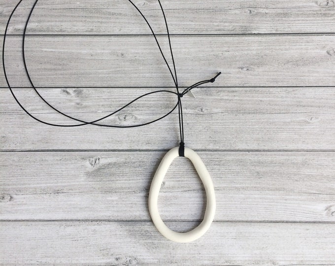Long teardrop necklace - minimalist porcelain teardrop pendant - modern porcelain necklace