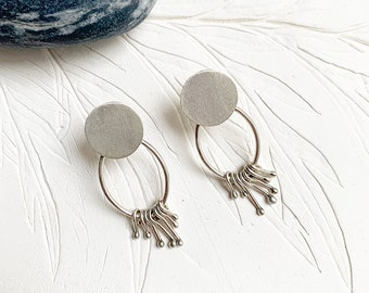 Sterling silver fringe earrings - stud geometric earrings - small silver dangle earrings