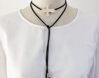 Minimalist porcelain bird necklace - leather layering wrap necklace