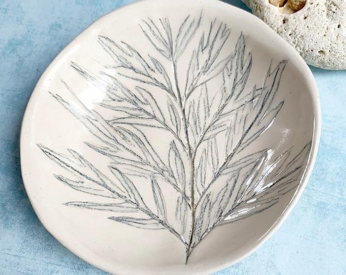 Pressed leaf ceramic bowl - ceramic trinket dish - decorative nature bowl