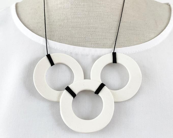Minimalist porcelain circle necklace - simple geometric ceramic necklace