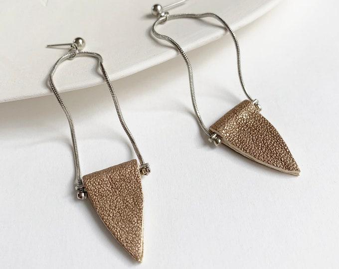 Long minimalist leather earrings , geometric earrings