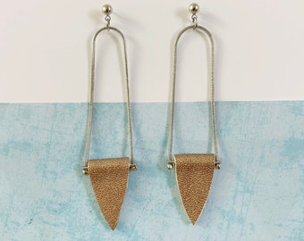 Long minimalist leather earrings - geometric earrings