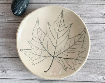 Pressed maple leaf ceramic dish - ceramic trinket dish - jewelry dish