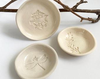 Modern jewelry dish set - small trinket dish - nature ring holder - modern rustic ceramic