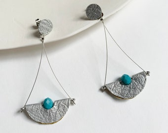 Long half moon leather earrings - geometric silver and turquoise earrings