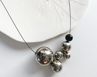 Long statement ball necklace - modern asymmetrical bubble necklace