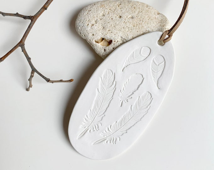 Feathers wall decor - porcelain wall art - ceramic wall hanging