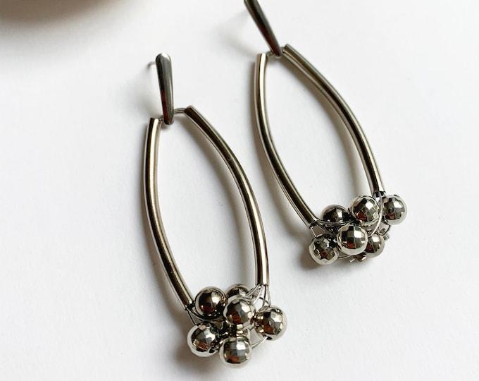 Modern bubble earrings - long statement silver bead earrings
