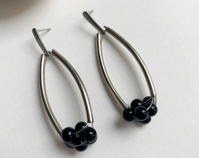 Modern bubble earrings - long statement black bead earrings