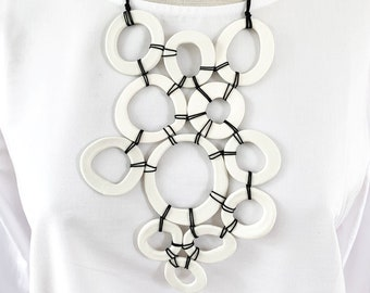 Statement porcelain circle pendant necklace - modern geometric bib necklace
