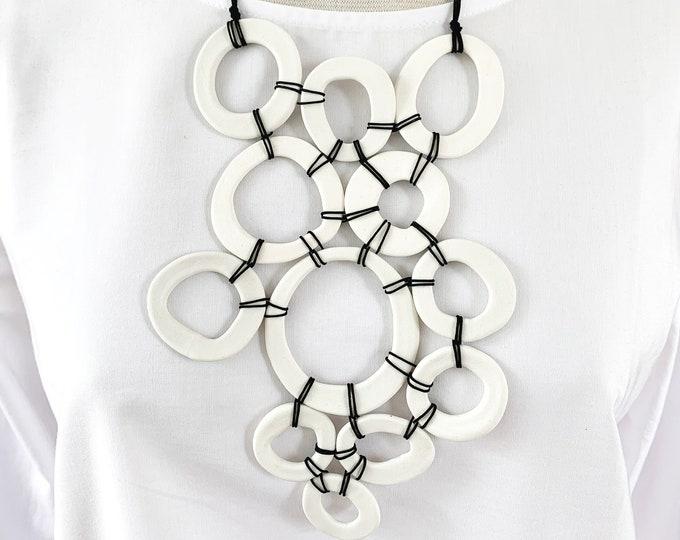 Statement porcelain circle pendant necklace - modern geometric bib necklace