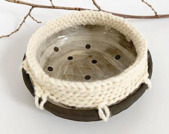 Decorative ceramic bowl with crochet - brown stoneware trinket bowl