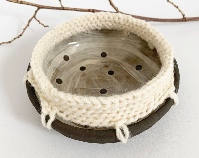 Decorative ceramic bowl with crochet - brown stoneware trinket bowl