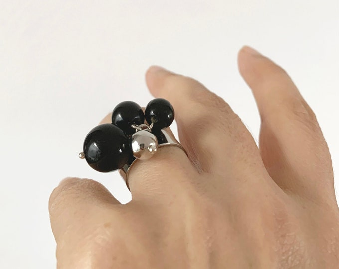 Statement black ball ring - bunch sphere bead ring
