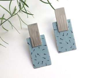 Geometric large paper earrings - statement rectangle earrings - lightweight big stud earrings