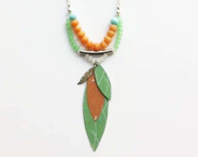 Boho paper necklace - asymmetric leaf pendant necklace - beaded  necklace