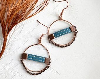Boho copper hoop earrings - leather circle earrings
