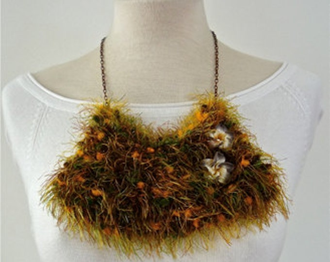 Bib Necklace - statement necklace - crochet necklace - textile asymmetric necklace - fabric necklace - floral