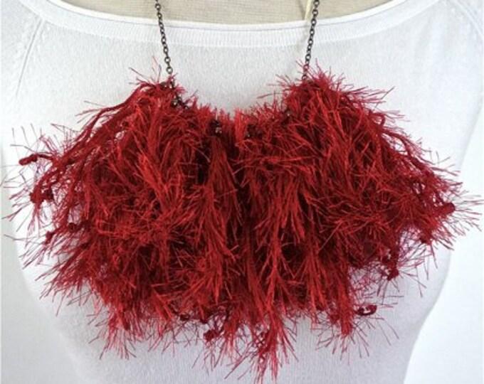 Statement Bib Necklace - fabric necklace - unique tassel necklace - textile - bold necklace
