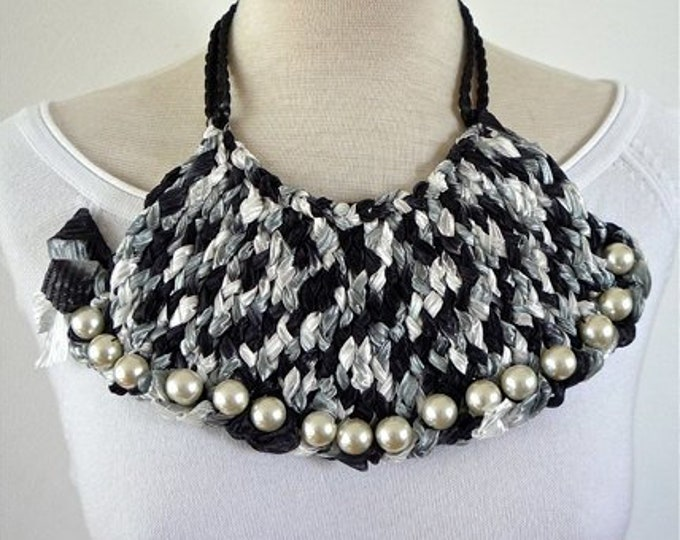 Bib Necklace textile - statement necklace -OOAK - fabric necklace - crochet necklace