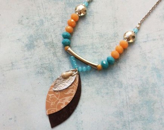 Leaf pendant necklace - boho paper necklace  - long beaded necklace