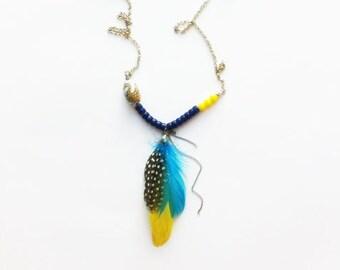 Long Boho Necklace - boho chic feathers necklace - free spirit - tribal - ethnic- asymmetric necklace